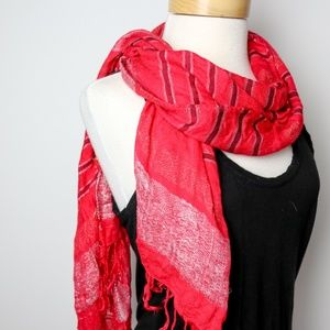 Accessories - Red Striped Sparkle Fringe Scarf